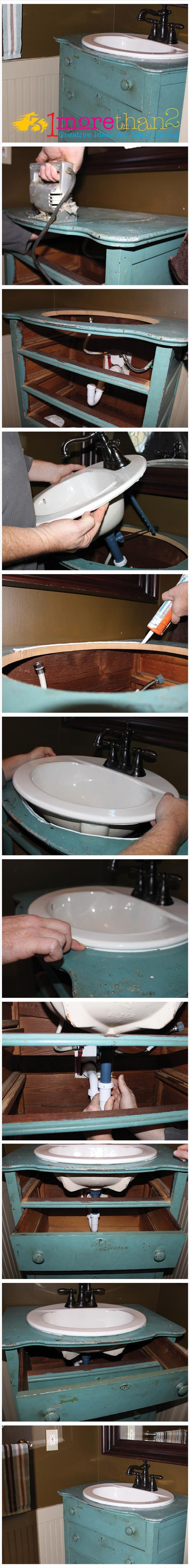 make a bathroom sink out of an old dresser