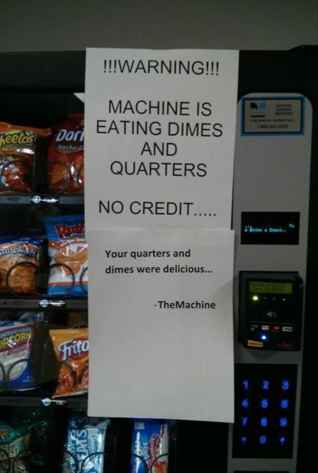 notes on vending machines