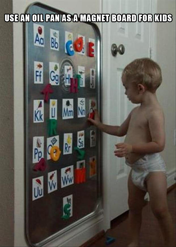 oil drip pan makes a great magnet board for kids