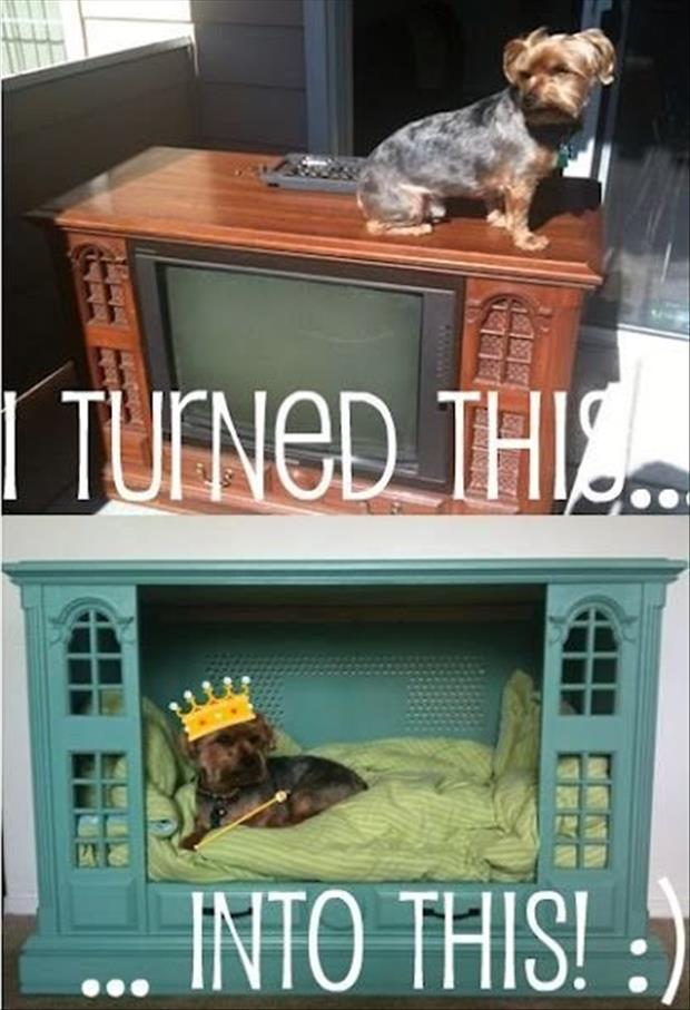 turn your old tv into a dog house fun craft ideas