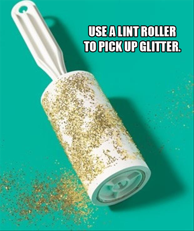 use a lint roller to clean up glitter
