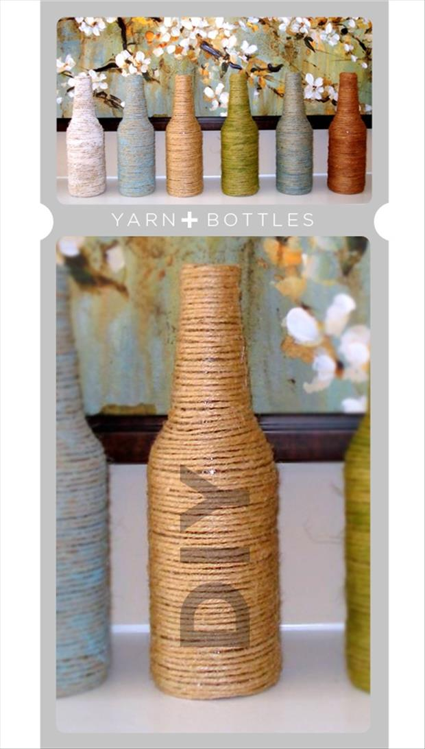 yarn bottles fun craft ideas