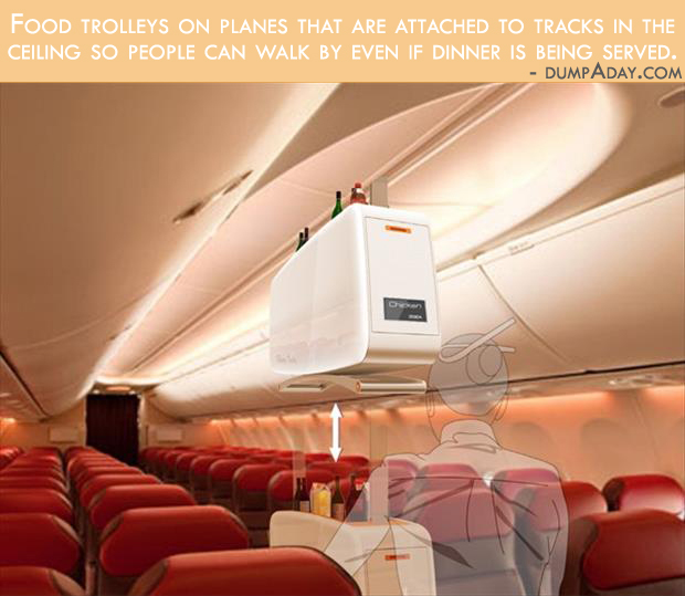 Borderline Genius Ideas- ceiling  food trolleys for planes