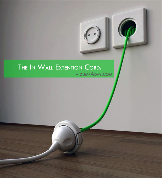 Borderline Genius Ideas- in wall extention cords