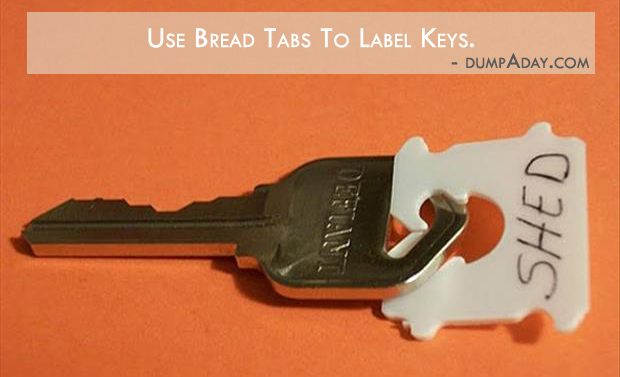 Borderline Genius Ideas- use bread tags to label keys