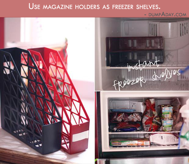 Borderline Genius Ideas- use magazine holders as freezer shelves