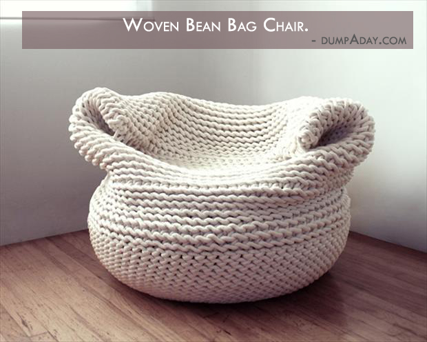 Borderline Genius Ideas- woven bean bag chair