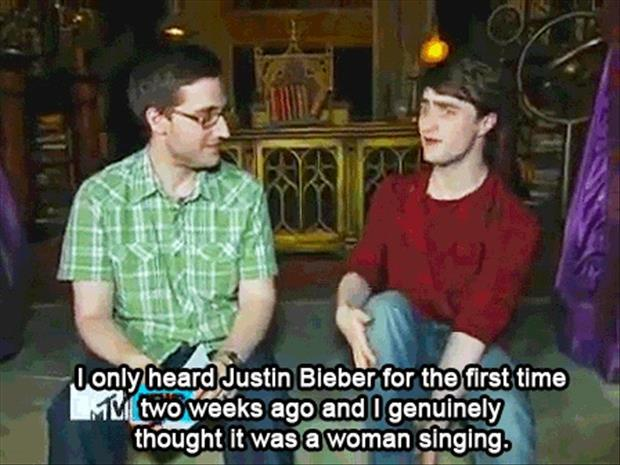 Daniel Radcliff talking about Justin Bieber