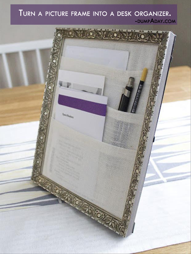 Genius Crafty Ideas- Turn a picture frame into a desk organizer