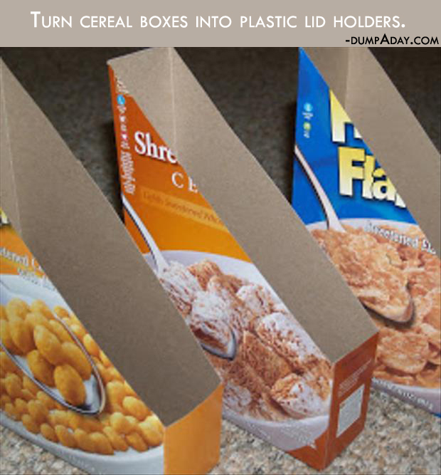 Genius Crafty Ideas- Turn cereal boxes into plastic lid holders