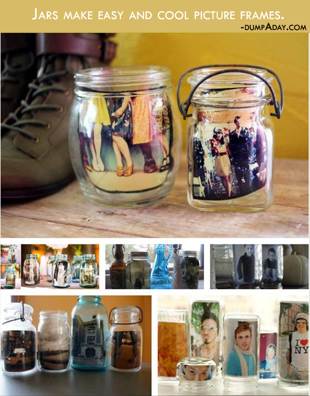 Genius Crafty Ideas- jars as easy picture frame