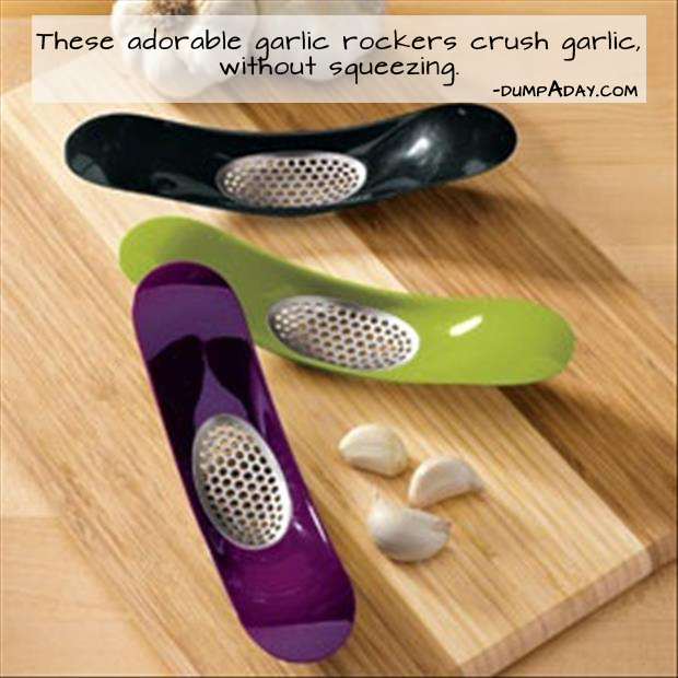 Genius Ideas- Garlic Rocker crushes garlic without squeezing