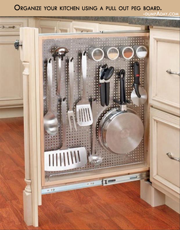 Genius Ideas- Organize your kitchen using a pull out peg board