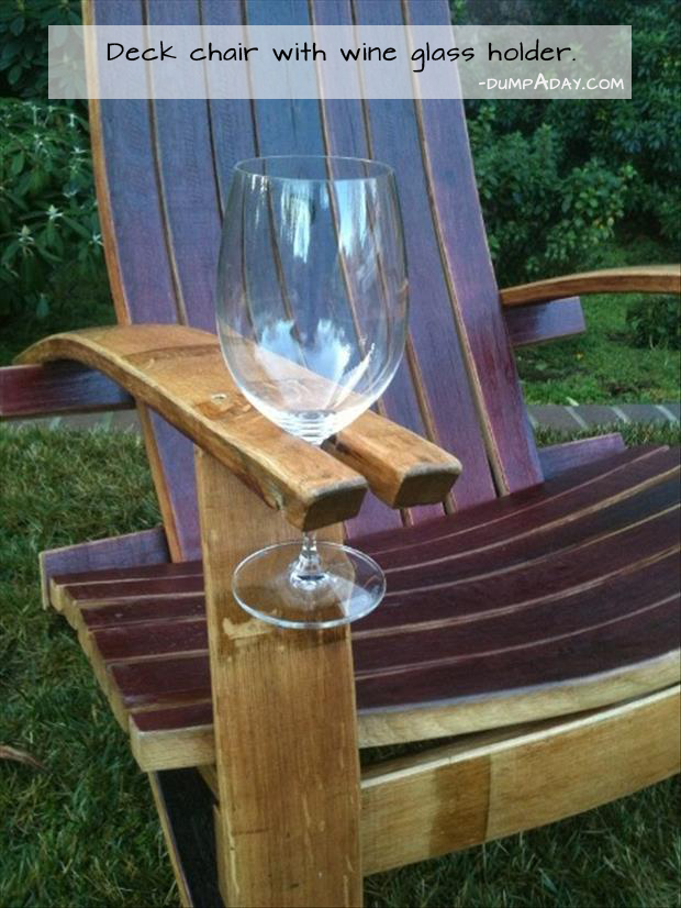 Genius Ideas- deck chair with wine glass holder