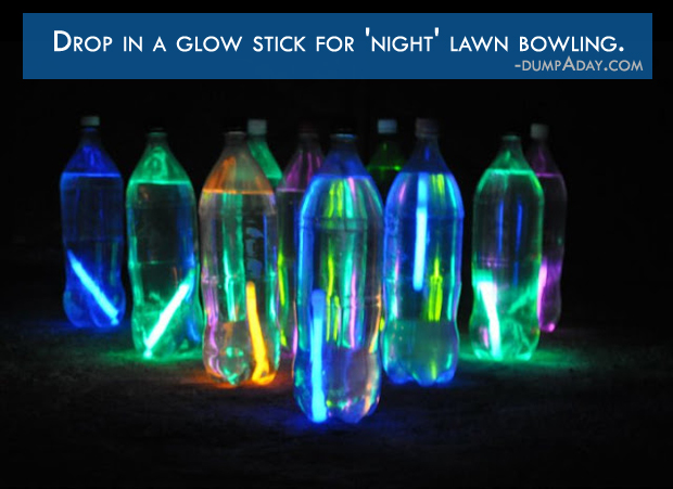 Summer fun Ideas- Fill plastic bottles with colored water for night lawn bowling
