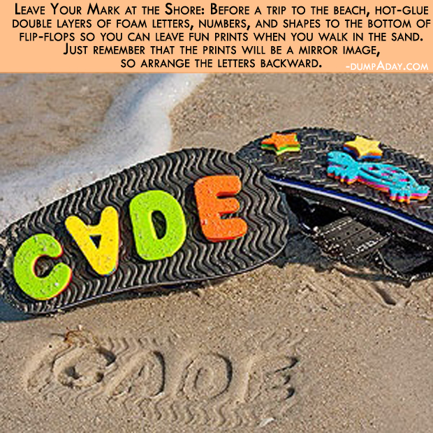 Summer fun Ideas- hot-glued foam letters on flip flops