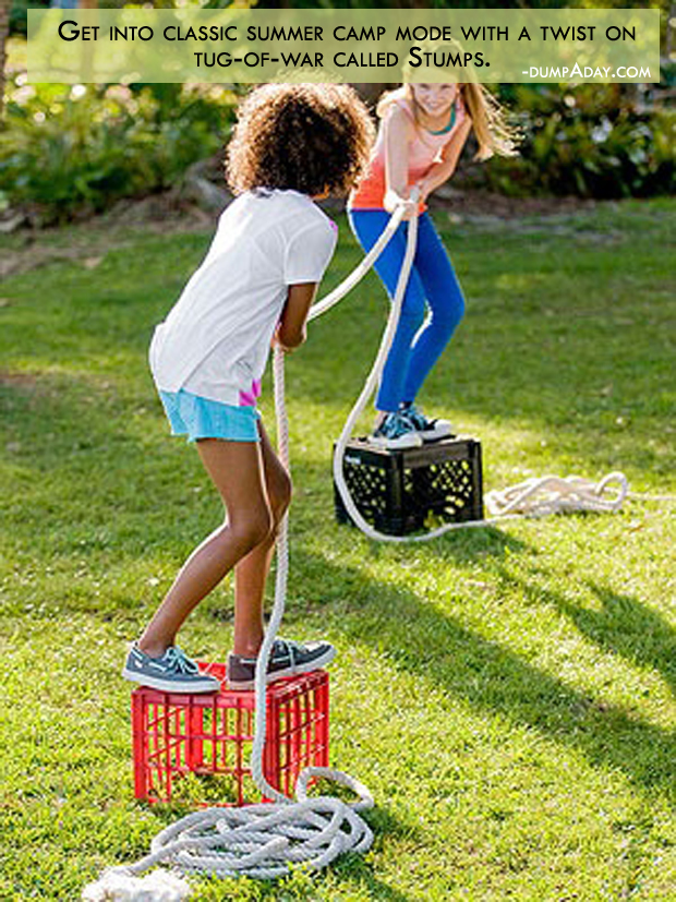 Summer fun ideas twist on tug of war called stumps
