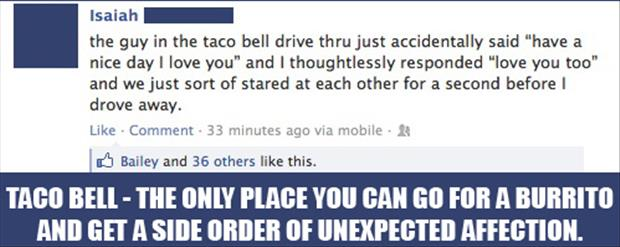 Taco Bell the only place where you can get a burrito with a side of unexpected affection