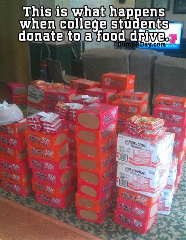 This is what happens when college students donate to a food drive