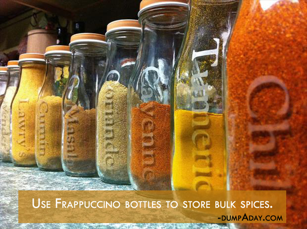 a Genius Crafty Ideas- Use Frappuccino bottles to store bulk spices