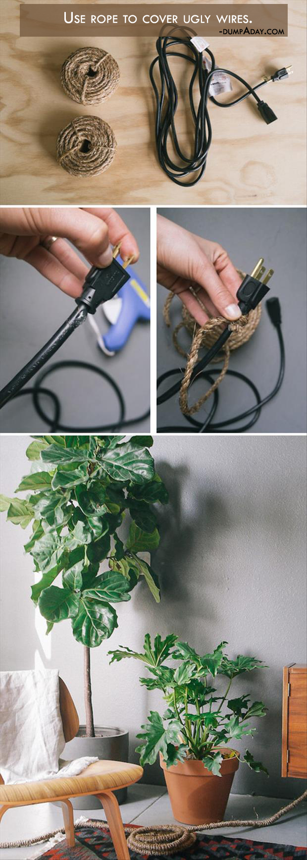 a Genius Crafty Ideas- Use rope to cover ugly wires