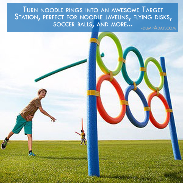 a Summer fun Ideas-Turn noodle rings into an awesome Target Station