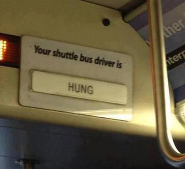 a funny bus signs