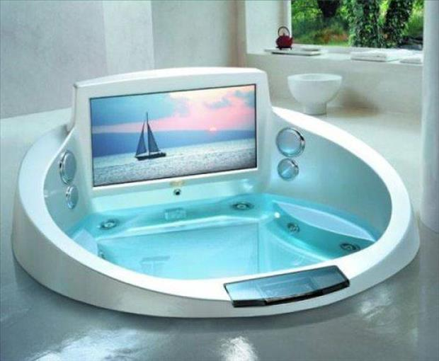 a tv over the bathtub