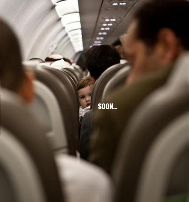 baby on plane soon meme