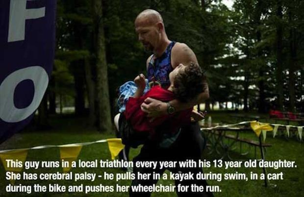 dad brings daughter on triathelon