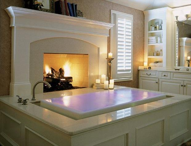 fireplace by the bathtub