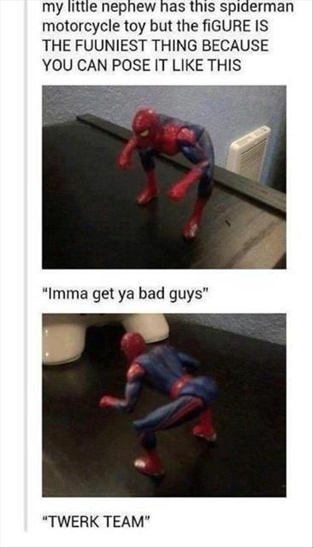funny spiderman figure