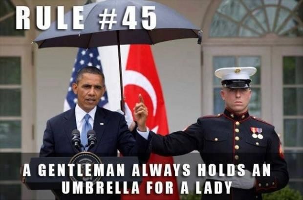 hold an umbrella for obama