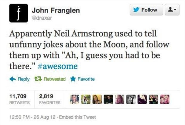 neil armstrong jokes about the moon