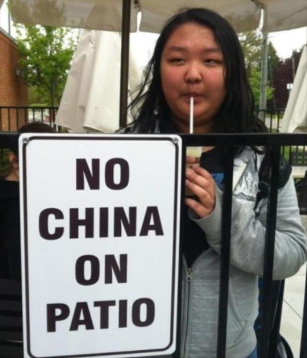 no china on patio funny signs