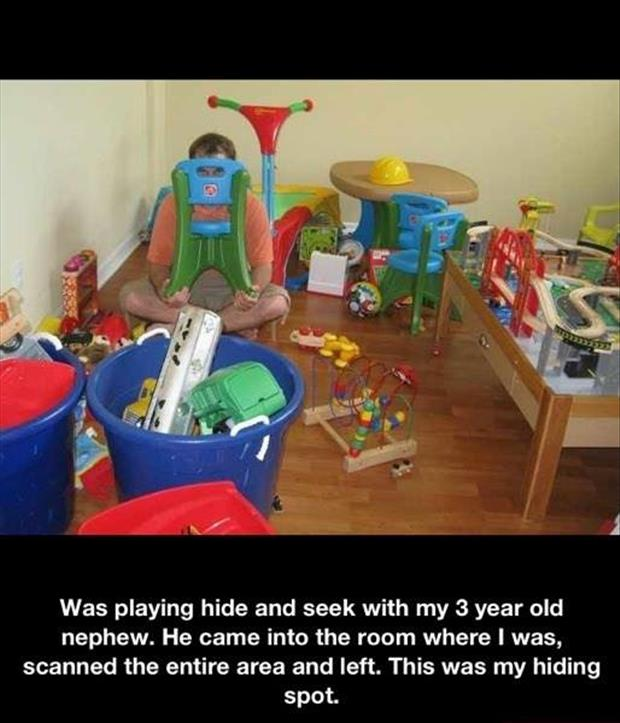 playing hide and seek with the kids