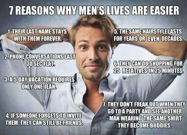 reasons why its better to be a man