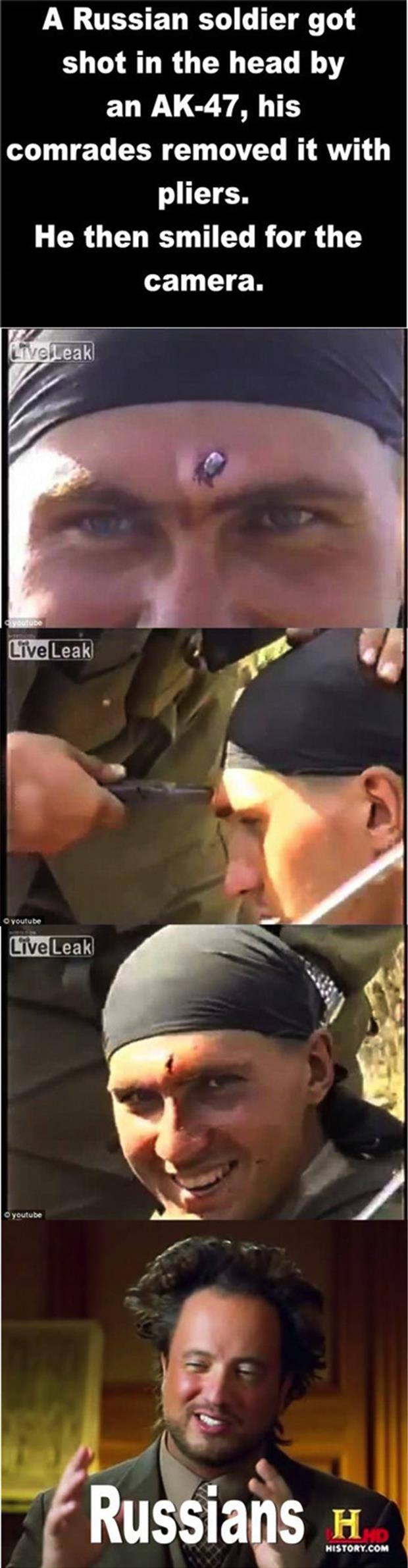 russian soldier gets shot in the head with an Ak-47