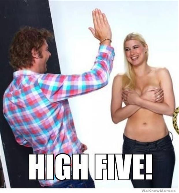 topless woman high five