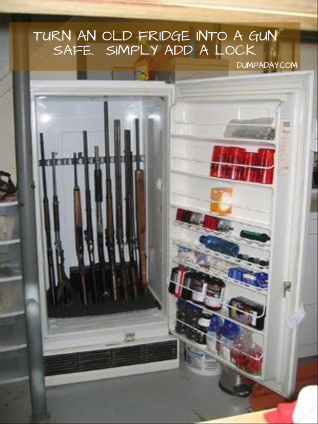 turn an old fridge into a gun safe, just add a lock