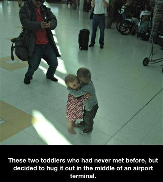 two toddlers hugging faith in humanity restored