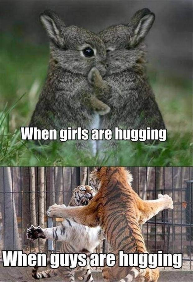 when girls hug