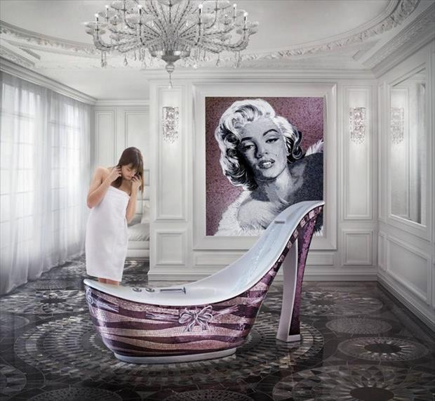 women shoe bathtub