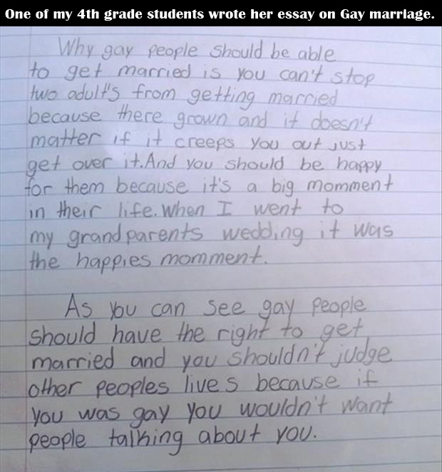 4th grader wrote her opinion about gay marriage