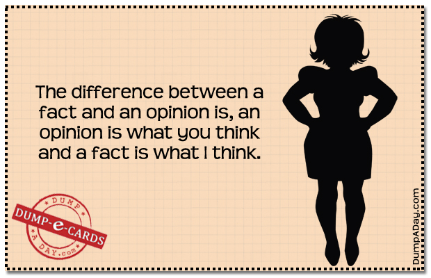 Fact vs Opinion Dump E-card