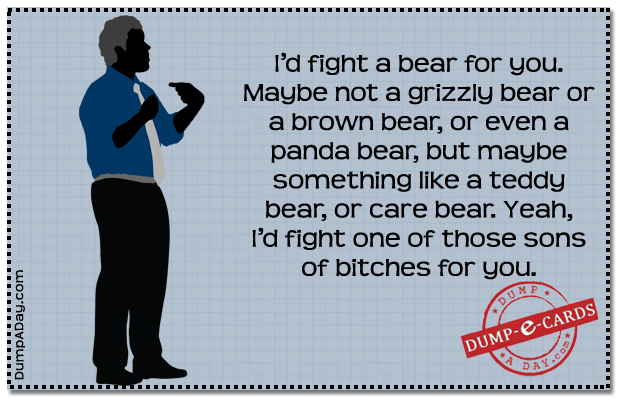 Fight a bear Dump E-card