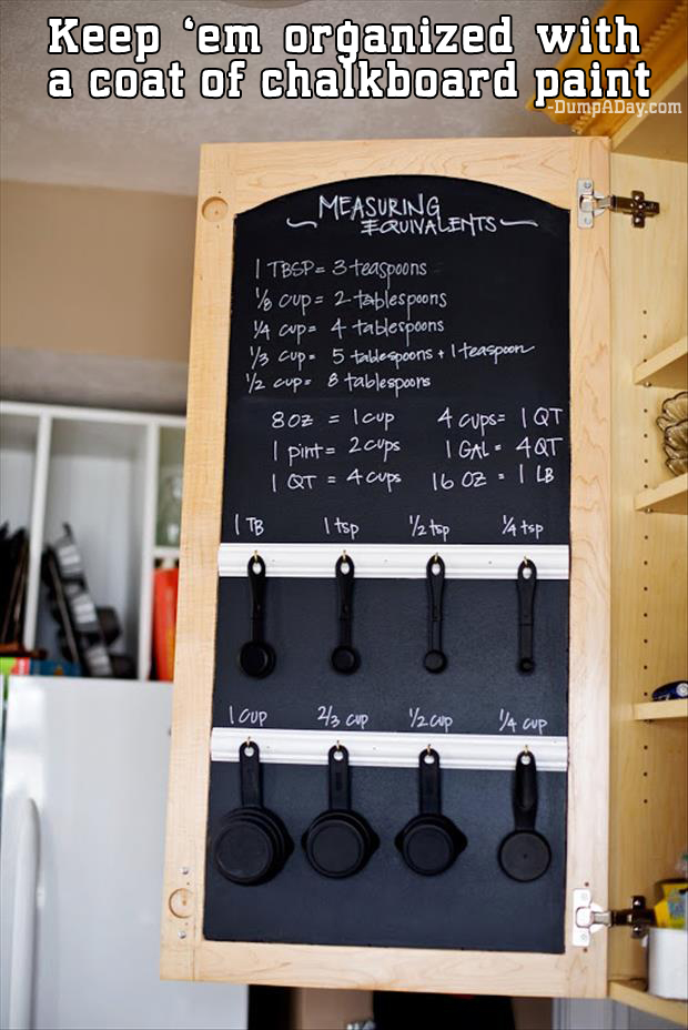 Keep 'em organized with a coat of chalkboard paint