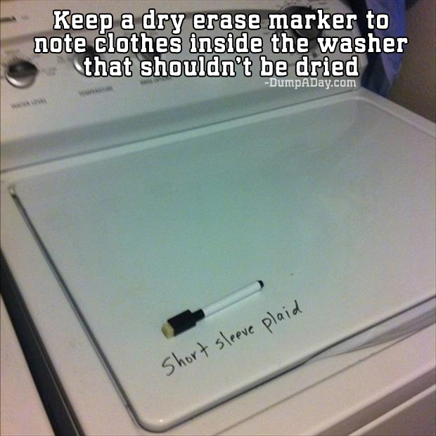 Keep a dry erase marker on washer