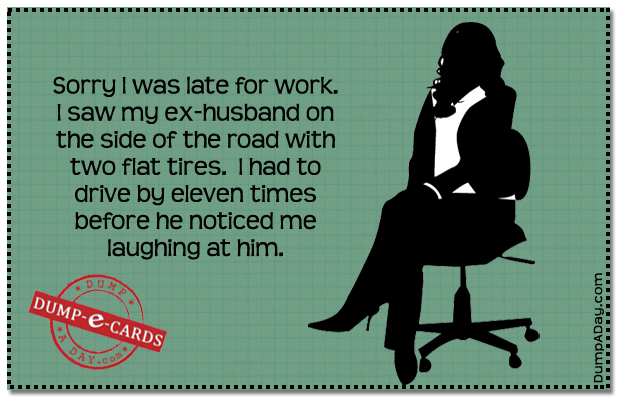 Late for work Dump E-card