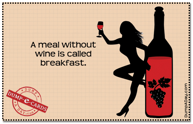 Meal without wine Dump E-card